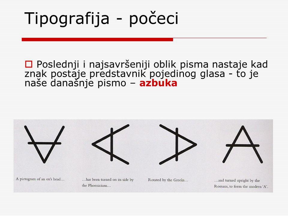 Tipografija - počeci  Poslednji i najsavršeniji oblik pisma nastaje kad znak postaje predstavnik pojedinog glasa - to je naše današnje pismo – azbuka