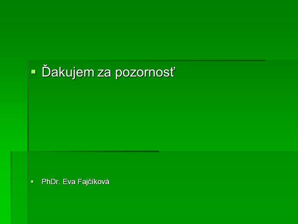  Ďakujem za pozornosť  PhDr. Eva Fajčíková