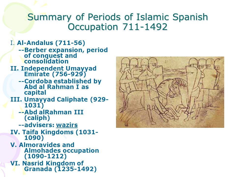 Summary of Periods of Islamic Spanish Occupation 711-1492 I.