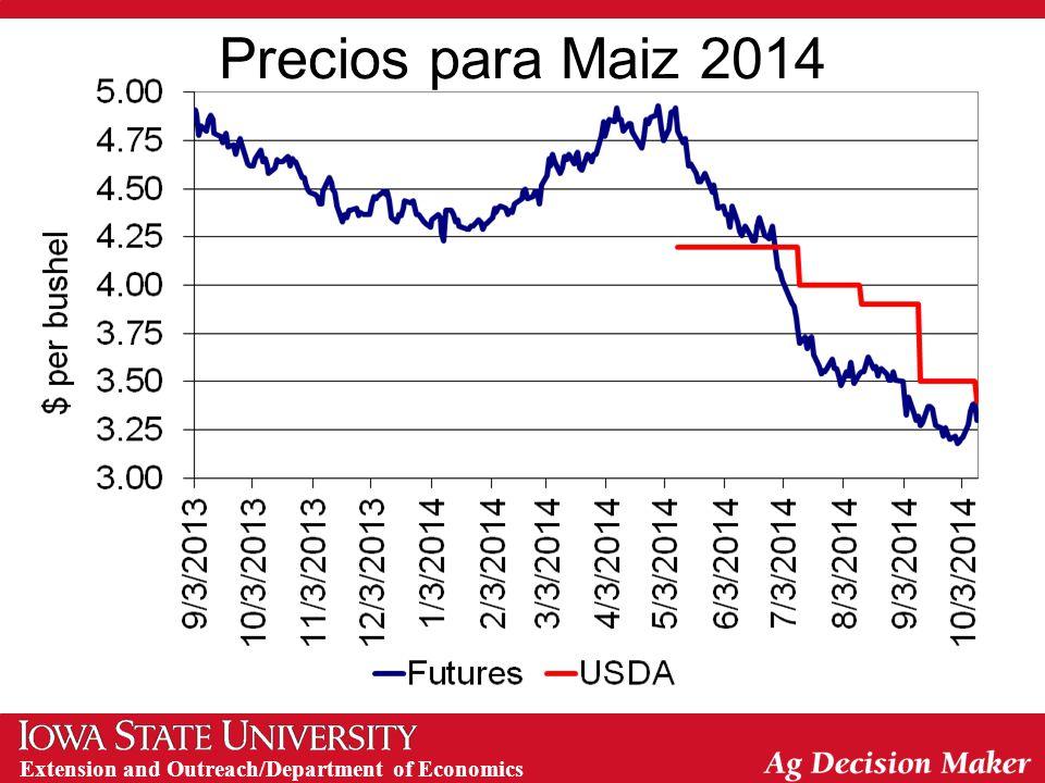 Extension and Outreach/Department of Economics Precios para Maiz 2014