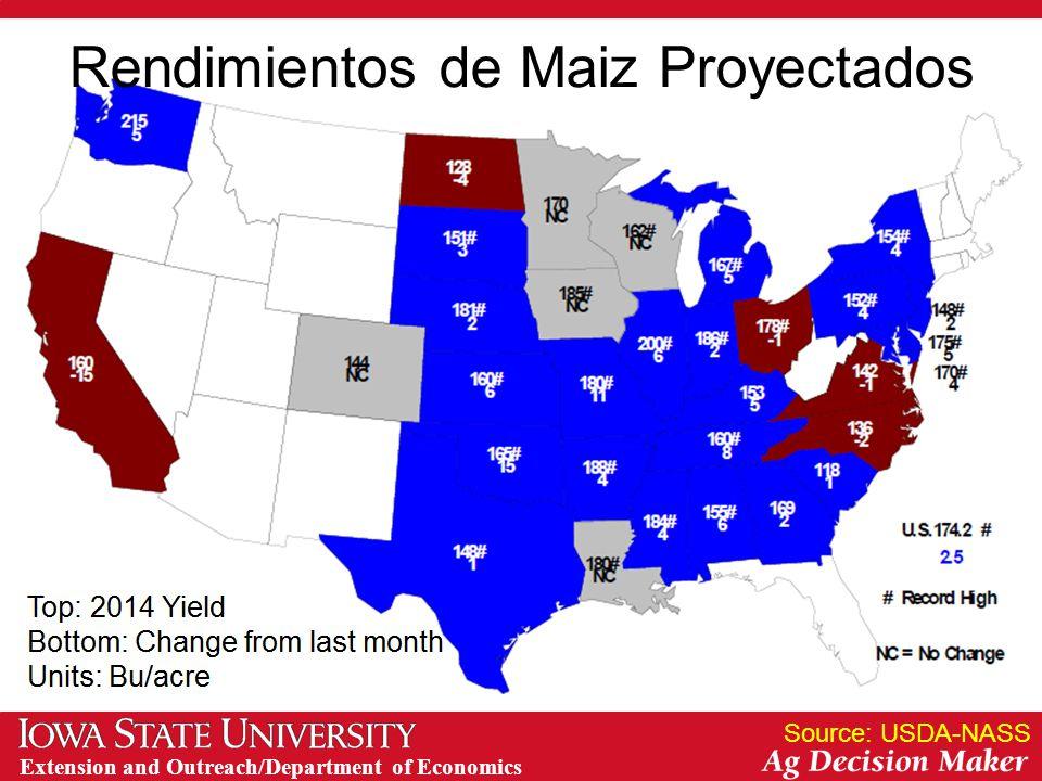 Extension and Outreach/Department of Economics Rendimientos de Maiz Proyectados Source: USDA-NASS