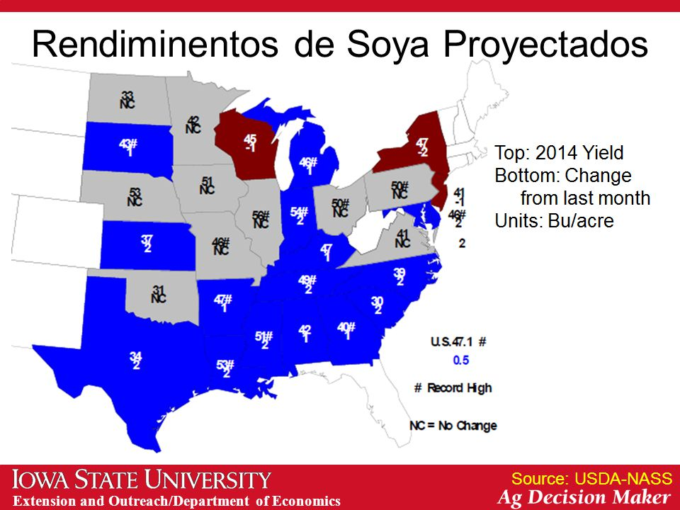 Extension and Outreach/Department of Economics Rendiminentos de Soya Proyectados Source: USDA-NASS