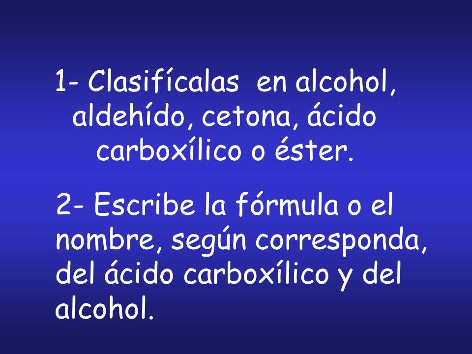 2- Escribe la fórmula o el nombre, según corresponda, del ácido carboxílico y del alcohol. 1- Clasifícalas en alcohol, aldehído, cetona, ácido carboxí