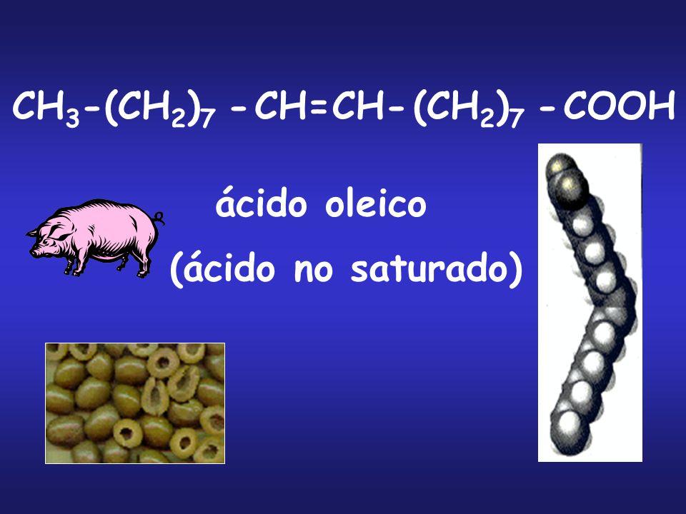 CH 3 - (CH 2 ) 7 -CH=CH-(CH 2 ) 7 -COOH ácido oleico (ácido no saturado)
