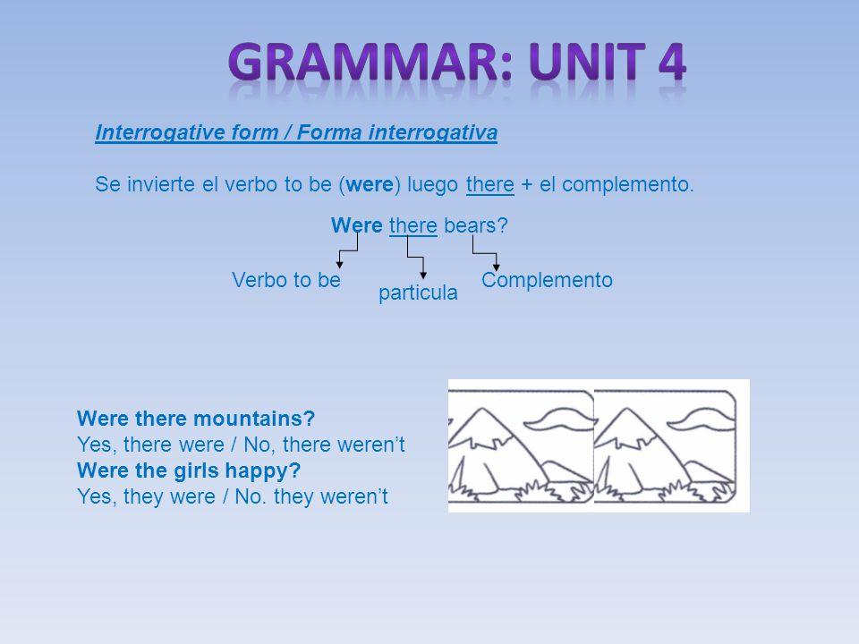 Interrogative form / Forma interrogativa Se invierte el verbo to be (were) luego there + el complemento.