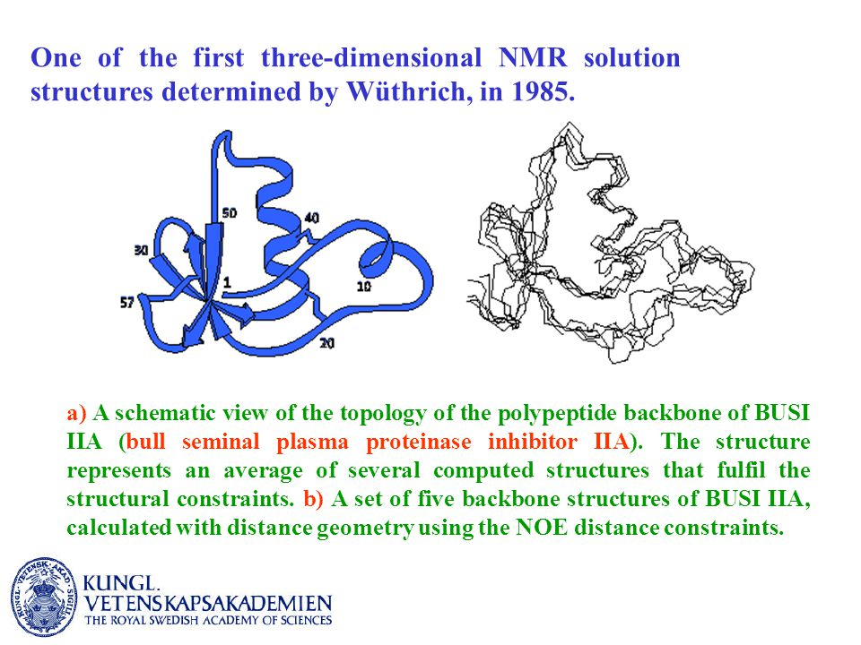 The Nobel Prize in Chemistry 2002 For the development of methods for identification and structure analyses of biological macromolecules for his development of nuclear magnetic resonance spectroscopy for determining the 3D structure of biological macromolecules in solution for their development of soft desorption ionisation methods for mass spectrometric analyses of biological macromolecules J.B.