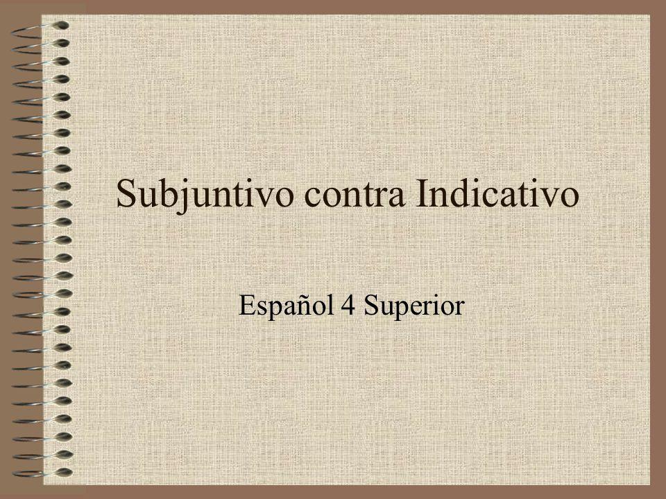 Subjuntivo contra Indicativo Español 4 Superior