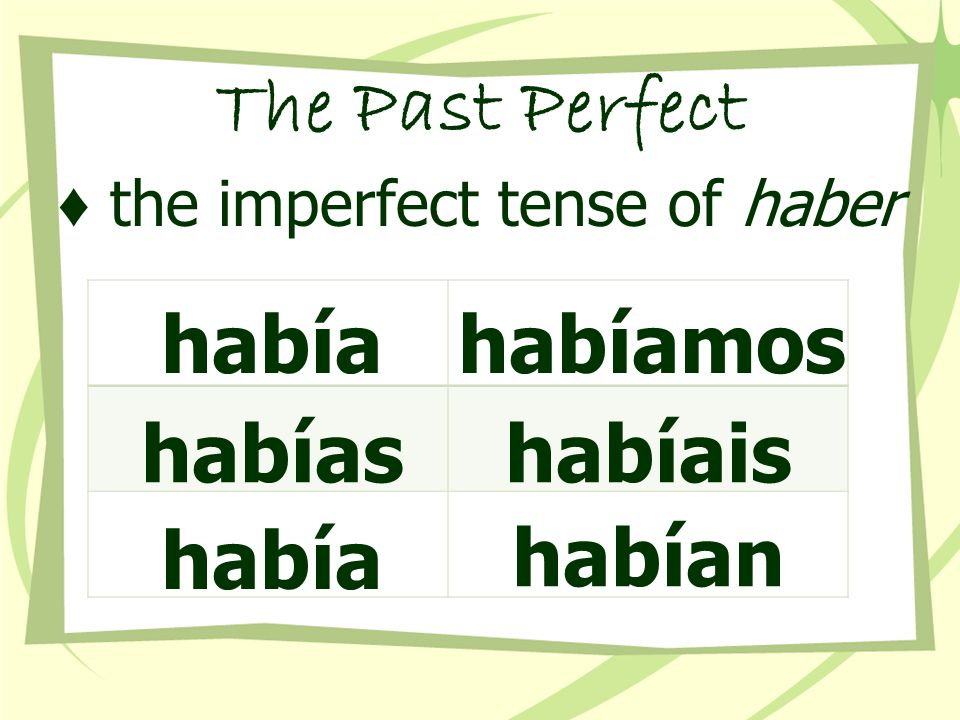 The Past Perfect ♦ the imperfect tense of haber había habías había habíamos habíais habían