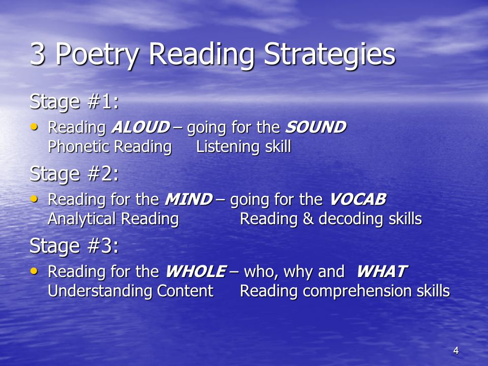 4 3 Poetry Reading Strategies Stage #1: Reading ALOUD – going for the SOUND Phonetic Reading Listening skill Reading ALOUD – going for the SOUND Phonetic Reading Listening skill Stage #2: Reading for the MIND – going for the VOCAB Analytical Reading Reading & decoding skills Reading for the MIND – going for the VOCAB Analytical Reading Reading & decoding skills Stage #3: Reading for the WHOLE – who, why and WHAT Understanding Content Reading comprehension skills Reading for the WHOLE – who, why and WHAT Understanding Content Reading comprehension skills