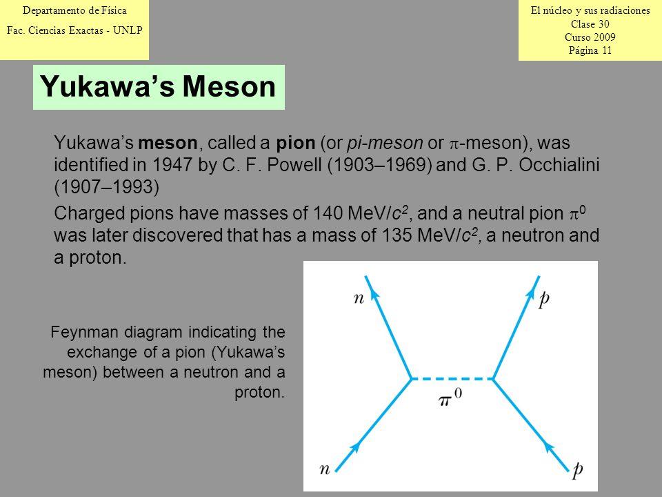El núcleo y sus radiaciones Clase 30 Curso 2009 Página 11 Departamento de Física Fac.