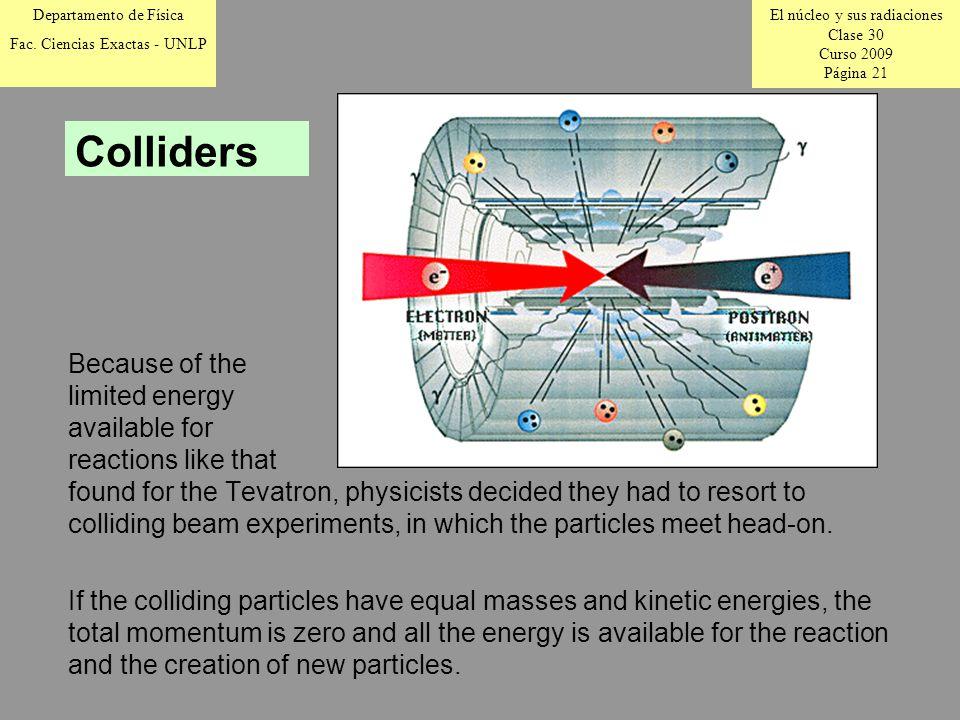 El núcleo y sus radiaciones Clase 30 Curso 2009 Página 21 Departamento de Física Fac.