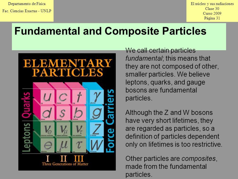 El núcleo y sus radiaciones Clase 30 Curso 2009 Página 31 Departamento de Física Fac.