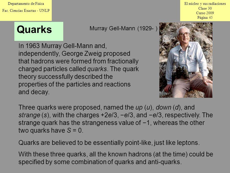 El núcleo y sus radiaciones Clase 30 Curso 2009 Página 45 Departamento de Física Fac.