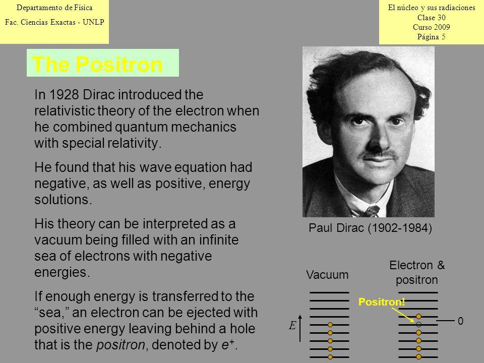 El núcleo y sus radiaciones Clase 30 Curso 2009 Página 5 Departamento de Física Fac.