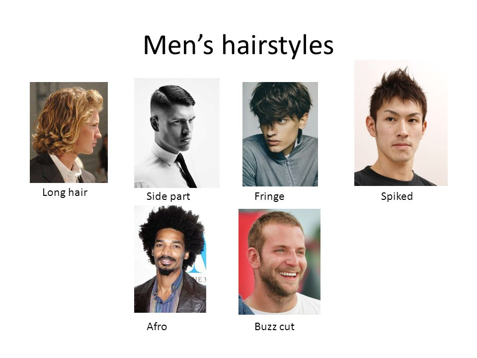 Men's hairstyles Long hair Side partFringe AfroBuzz cut Spiked