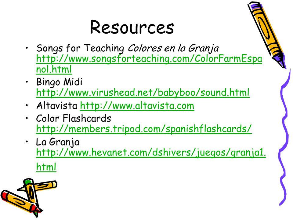 Resources Songs for Teaching Colores en la Granja http://www.songsforteaching.com/ColorFarmEspa nol.html http://www.songsforteaching.com/ColorFarmEspa