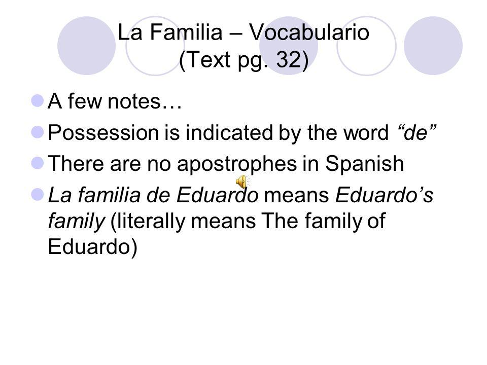 La Familia – Vocabulario (Text pg.