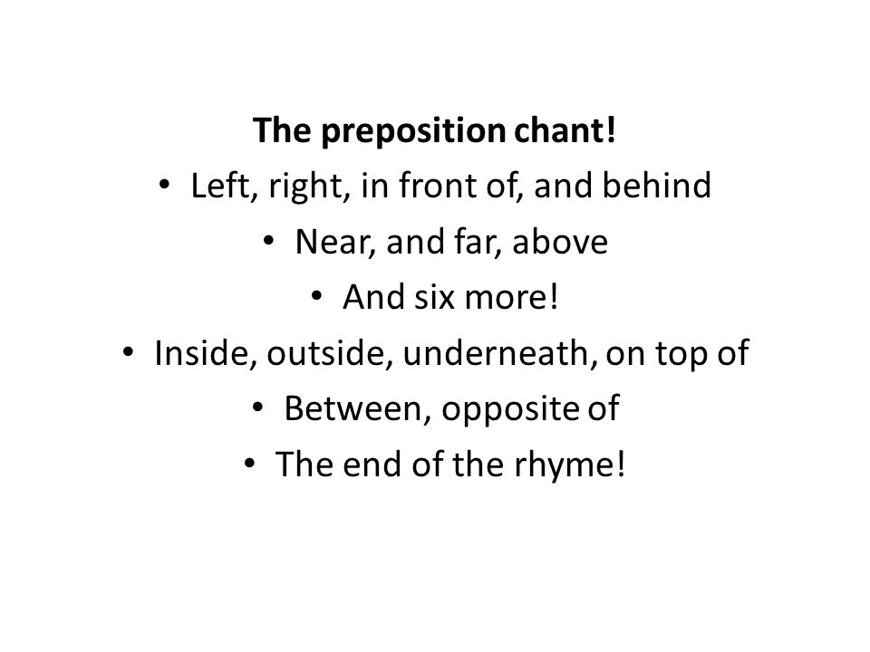 The preposition chant. Left, right, in front of, and behind Near, and far, above And six more.