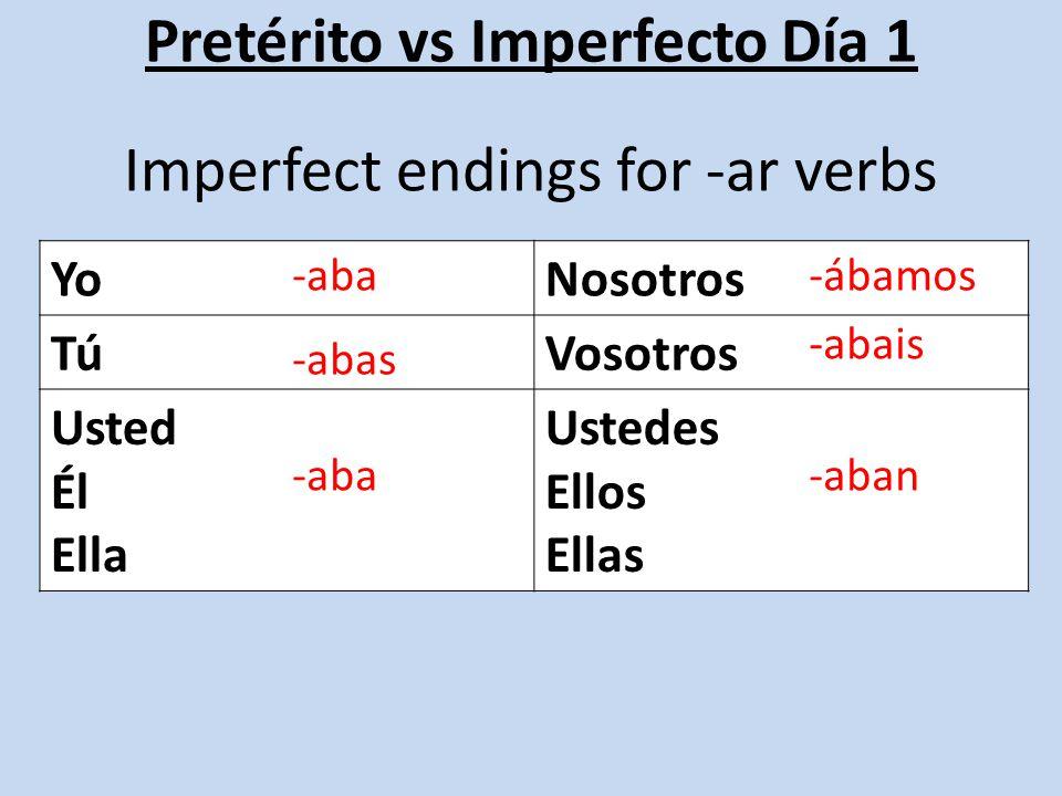 Pretérito vs Imperfecto Día 1 YoNosotros TúVosotros Usted Él Ella Ustedes Ellos Ellas Imperfect endings for -er / -ir verbs -ía -ías -ía -íamos -íais -ían