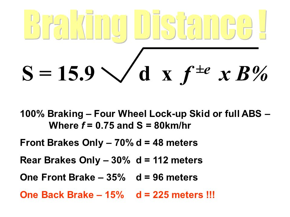 S = 15.9 d x f ±e x B% 100% Braking – Four Wheel Lock-up Skid or full ABS – Where f = 0.75 and S = 80km/hr Front Brakes Only – 70%d = 48 meters Rear B