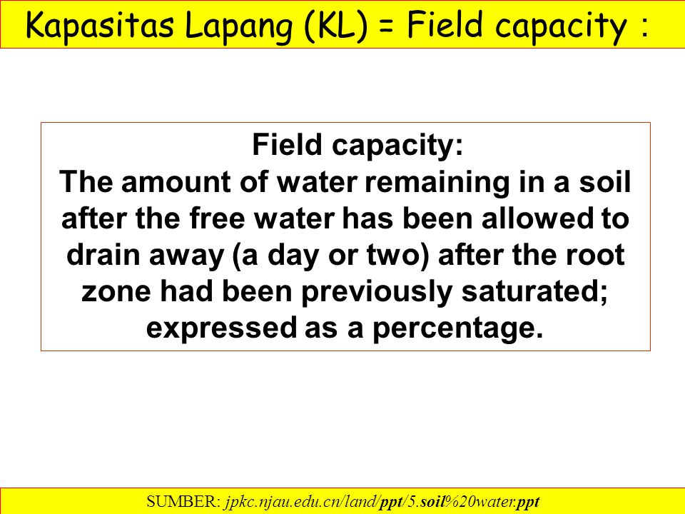 Field capacity: The amount of water remaining in a soil after the free water has been allowed to drain away (a day or two) after the root zone had been previously saturated; expressed as a percentage.