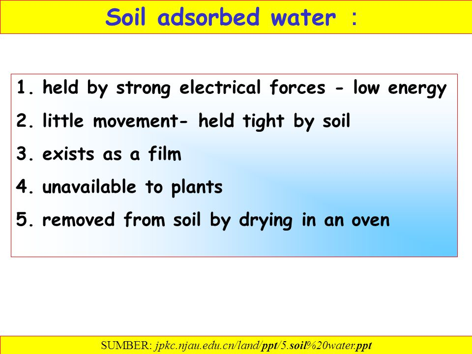 The types and available of soil moisture Classification of soil water Adsorbed water Membranous water Capillary water Gravitational water Numerical me