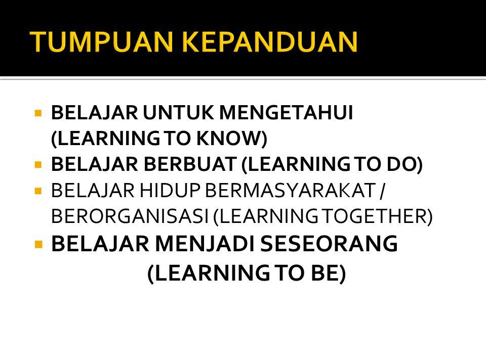 BBELAJAR UNTUK MENGETAHUI (LEARNING TO KNOW) BBELAJAR BERBUAT (LEARNING TO DO) BBELAJAR HIDUP BERMASYARAKAT / BERORGANISASI (LEARNING TOGETHER) BBELAJAR MENJADI SESEORANG (LEARNING TO BE)