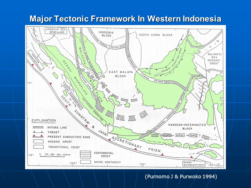 Major Tectonic Framework In Western Indonesia (Purnomo J & Purwoko 1994)