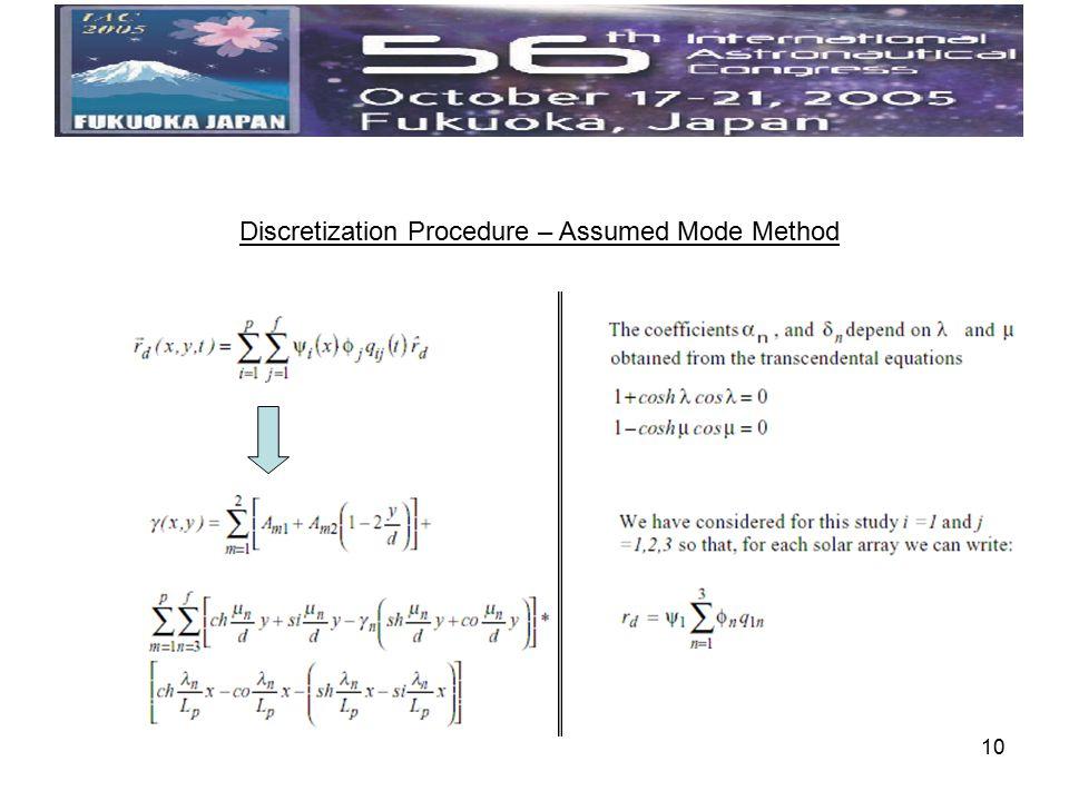 10 Discretization Procedure – Assumed Mode Method