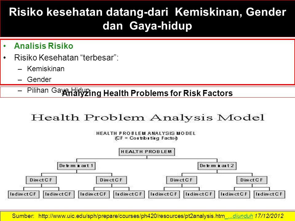 Risiko kesehatan datang-dari Kemiskinan, Gender dan Gaya-hidup Analisis Risiko Risiko Kesehatan terbesar : –Kemiskinan –Gender –Pilihan Gaya Hidup Sumber: http://www.uic.edu/sph/prepare/courses/ph420/resources/pt2analysis.htm_...diunduh 17/12/2012_...diunduh Analyzing Health Problems for Risk Factors
