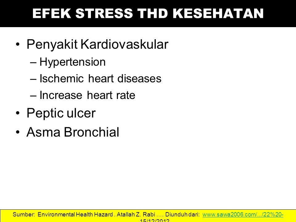 Penyakit Kardiovaskular –Hypertension –Ischemic heart diseases –Increase heart rate Peptic ulcer Asma Bronchial Sumber: Environmental Health Hazard.