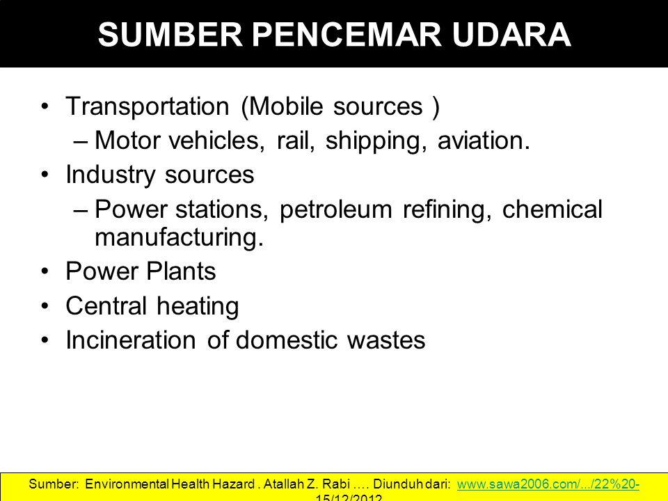 SUMBER PENCEMAR UDARA Transportation (Mobile sources ) –Motor vehicles, rail, shipping, aviation.