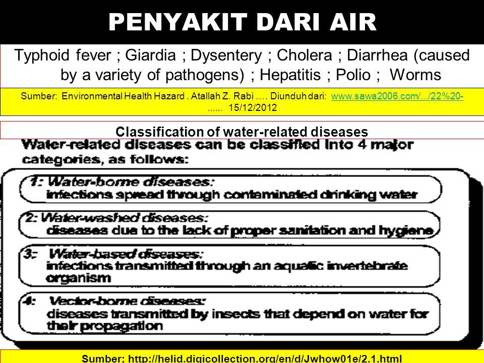 Typhoid fever ; Giardia ; Dysentery ; Cholera ; Diarrhea (caused by a variety of pathogens) ; Hepatitis ; Polio ; Worms Sumber: Environmental Health Hazard.