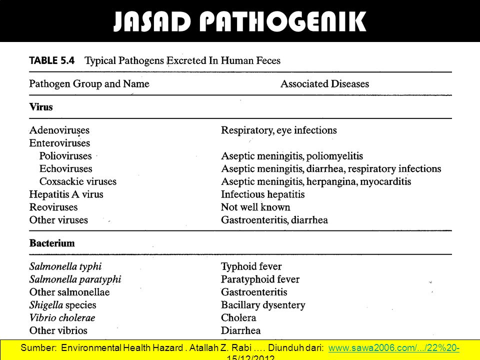 JASAD PATHOGENIK 41 Sumber: Environmental Health Hazard.