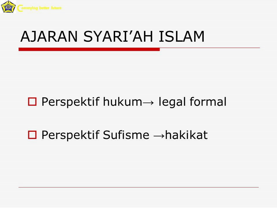 AJARAN SYARI'AH ISLAM  Perspektif hukum → legal formal  Perspektif Sufisme → hakikat onveying better future C