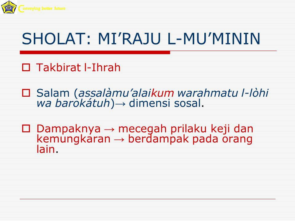 SHOLAT: MI'RAJU L-MU'MININ  Takbirat l-Ihrah  Salam (assalàmu'alaikum warahmatu l-lòhi wa barokátuh) → dimensi sosal.