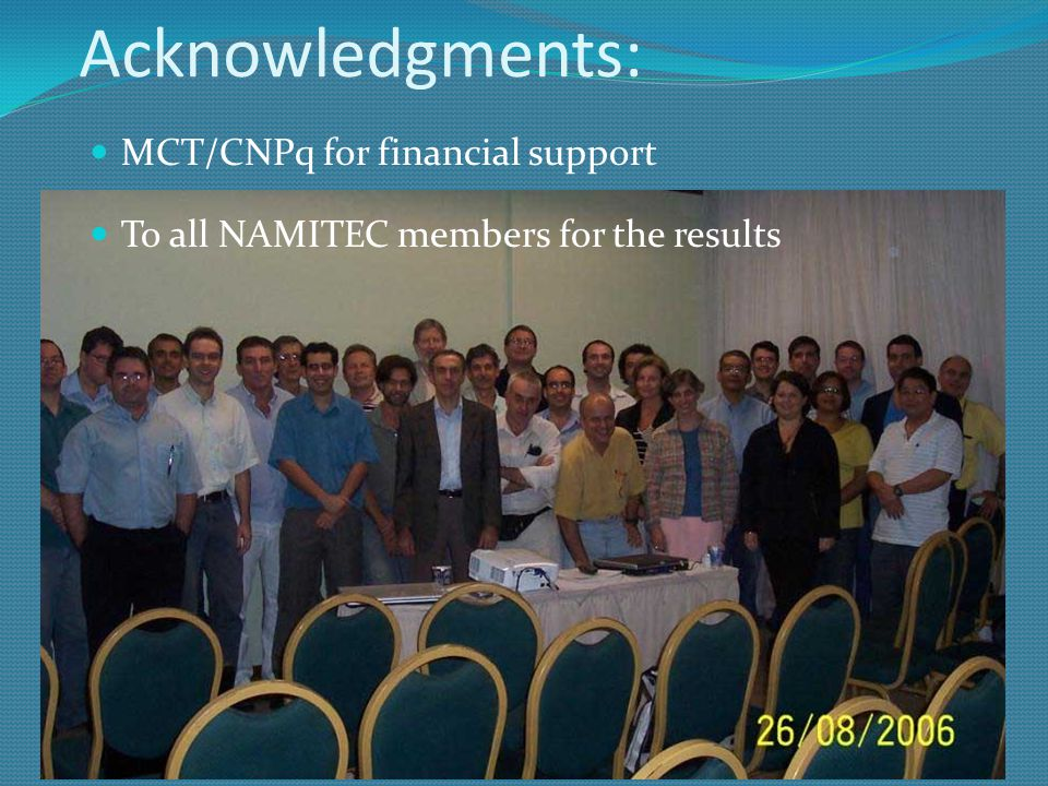 NAMITEC - Summary Increased number of institutions and members Increased interdisciplinarity Increasing cooperation with other institutions & companies Innovation in many issues Many students involved (under & graduate & pos-doc) Teaching of microtechnologies Improved installations Social, economical and environmental important applications: irrigation control system, sensor networks, etc.