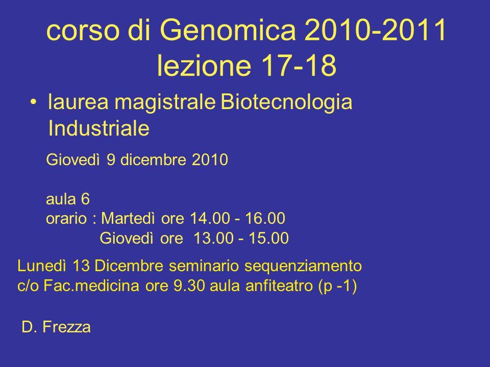 corso di Genomica 2010-2011 lezione 17-18 laurea magistrale Biotecnologia Industriale Giovedì 9 dicembre 2010 aula 6 orario : Martedì ore 14.00 - 16.00 Giovedì ore 13.00 - 15.00 D.