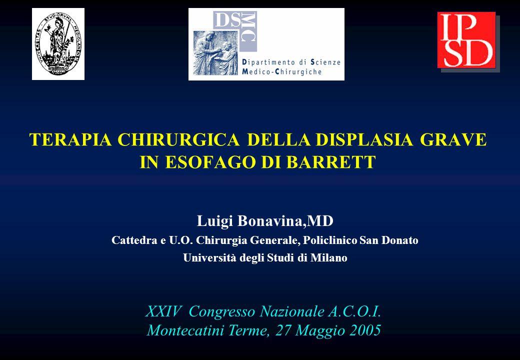 Luigi Bonavina,MD Cattedra e U.O. Chirurgia Generale, Policlinico San Donato Università degli Studi di Milano XXIV Congresso Nazionale A.C.O.I. Montec