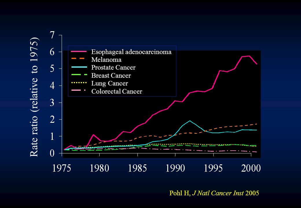 Rate ratio (relative to 1975) Esophageal adenocarcinoma Melanoma Prostate Cancer Breast Cancer Lung Cancer Colorectal Cancer Pohl H, J Natl Cancer Inst 2005