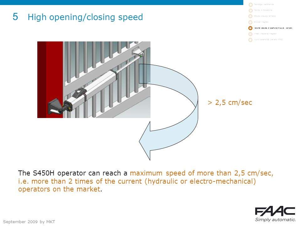 September 2009 by MKT 5 High opening/closing speed The S450H operator can reach a maximum speed of more than 2,5 cm/sec, i.e.