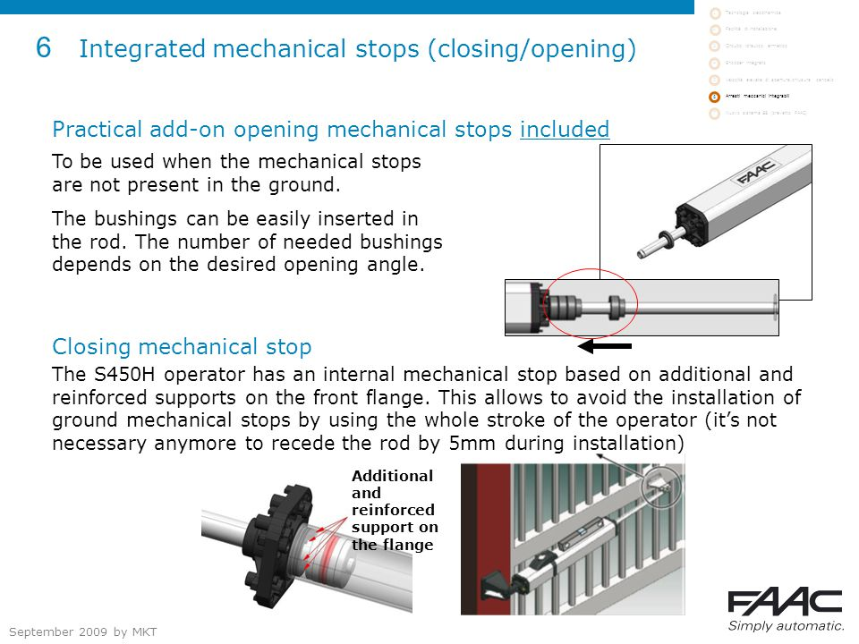 September 2009 by MKT 6 Integrated mechanical stops (closing/opening) Practical add-on opening mechanical stops included To be used when the mechanical stops are not present in the ground.