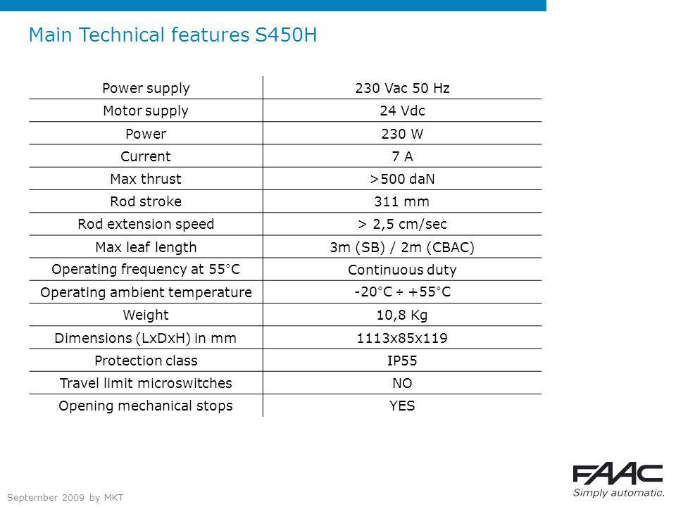 September 2009 by MKT Main Technical features S450H Power supply230 Vac 50 Hz Motor supply24 Vdc Power230 W Current7 A Max thrust>500 daN Rod stroke311 mm Rod extension speed> 2,5 cm/sec Max leaf length3m (SB) / 2m (CBAC) Operating frequency at 55°CContinuous duty Operating ambient temperature-20°C ÷ +55°C Weight10,8 Kg Dimensions (LxDxH) in mm1113x85x119 Protection classIP55 Travel limit microswitchesNO Opening mechanical stopsYES
