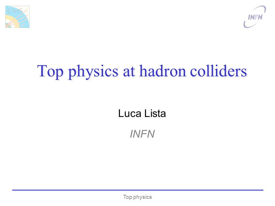 Luca Lista INFN Top physics Top physics at hadron colliders