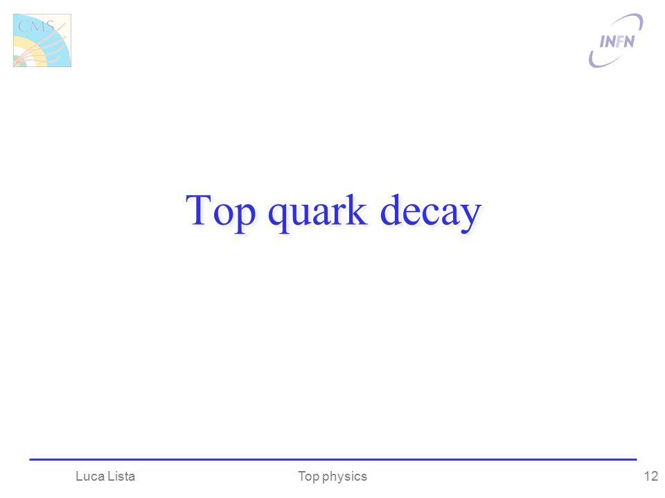 Top quark decay Top physicsLuca Lista12