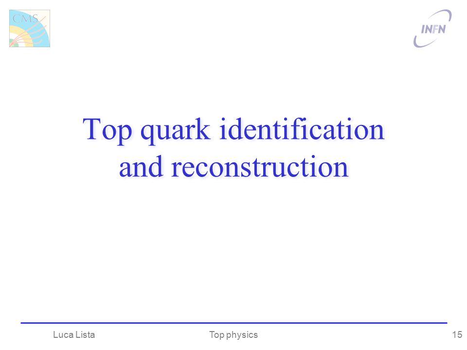 Top quark identification and reconstruction Top physicsLuca Lista15