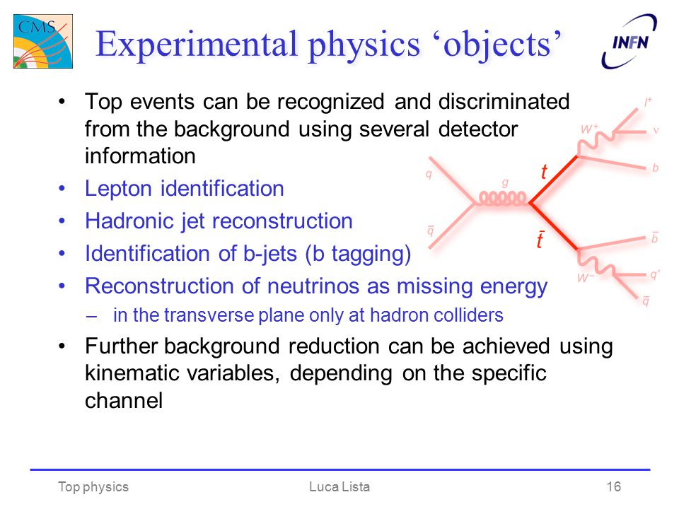 Experimental physics 'objects' Top events can be recognized and discriminated from the background using several detector information Lepton identifica