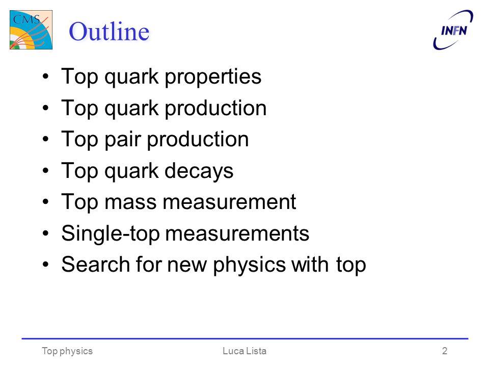 Outline Top quark properties Top quark production Top pair production Top quark decays Top mass measurement Single-top measurements Search for new phy