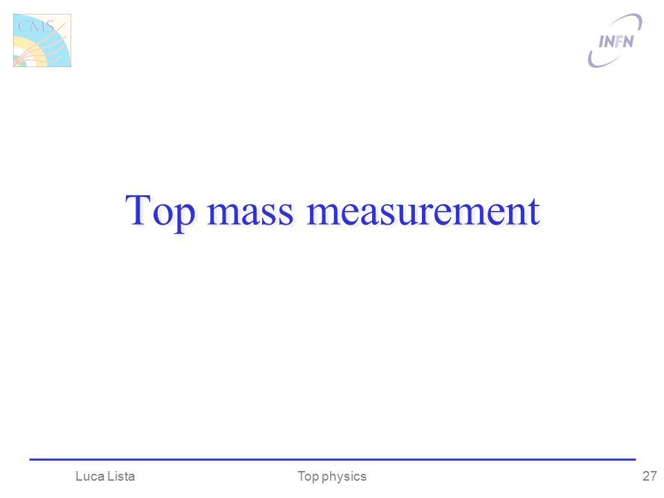 Top mass measurement Top physicsLuca Lista27