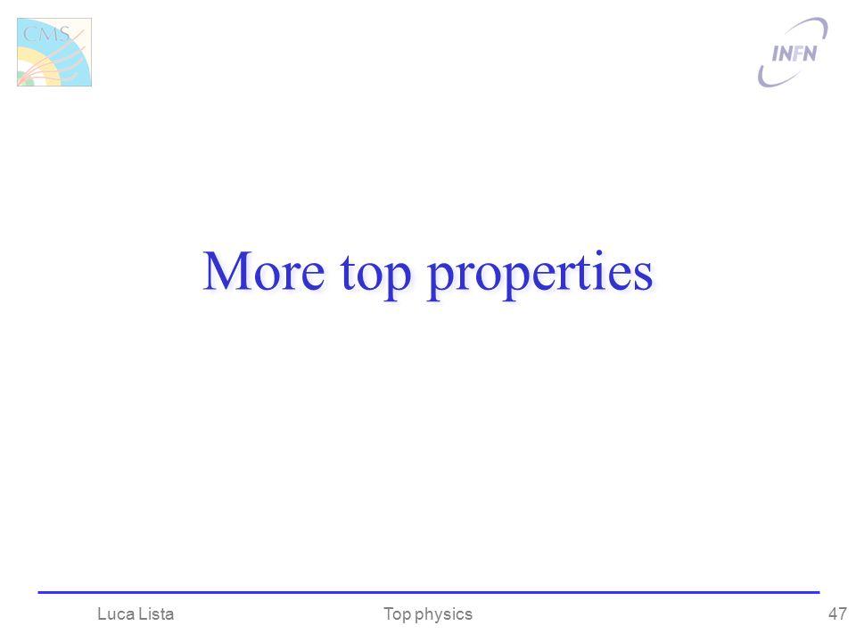 More top properties Top physicsLuca Lista47